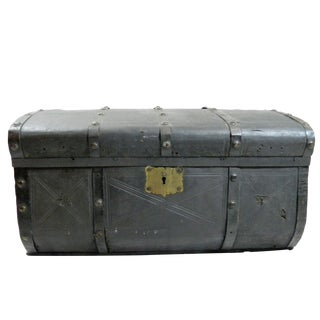 19th Century Industrial Metal Trunk For Sale