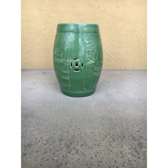 Ceramic Vintage Contemporary Chinoiserie Green Ceramic Garden Stool For Sale - Image 7 of 9