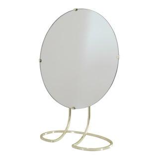 1970s Art Deco Glam Steel Table Mirror