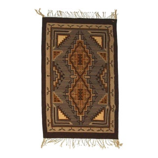 Vintage Navajo Geometric Flatweave Carpet - 4′2″ × 6′3″ For Sale