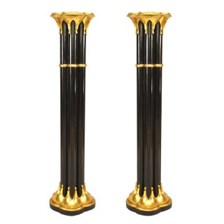 19th Century Chinese Chippendale Painted Pedestals-a Pair For Sale