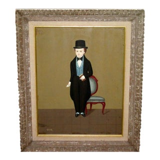 Vintage Oscar Mexican Folk Art Portrait Painting For Sale