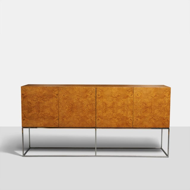 Tall burlwood credenza by Milo Baughman For Sale In San Francisco - Image 6 of 6