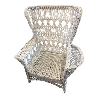 Vintage Braided Victorian Style White Wicker Sturdy Wingback Chair With Media Storage Pocket For Sale