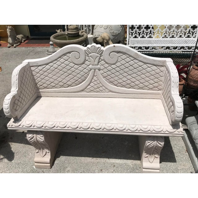 Moroccan Sand Cast Stone Garden Bench From Morocco For Sale - Image 3 of 4