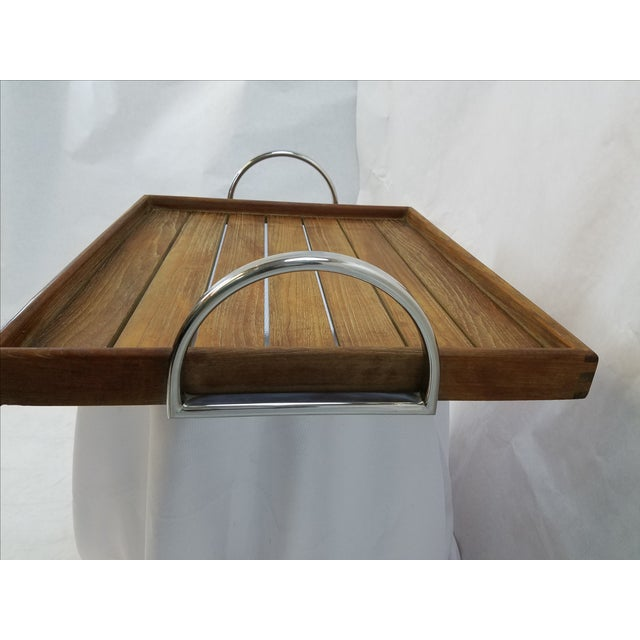Danish Modern Teak Tray With Chrome Handles - Image 3 of 5