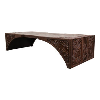 Mid Century Carved Wood Panelcarve Coffee Table by Sherrill Broudy Witco For Sale
