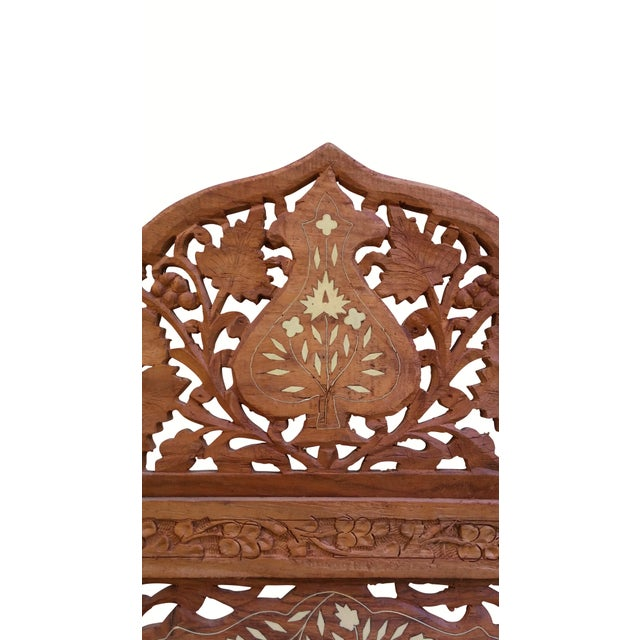 Carved Indian Screen with Brass Inlay For Sale - Image 7 of 7