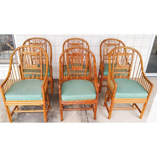 Hollywood Regency Brighton Bamboo Chair- Set of 6 - Image 2 of 9