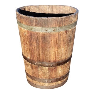 1900s French Oak Metal Strapped Grape Barrel For Sale