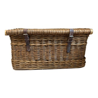 Antique French Lidded Wicker Basket For Sale