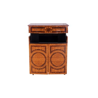 Lacquered Bar Cabinet with Burl Inlay For Sale