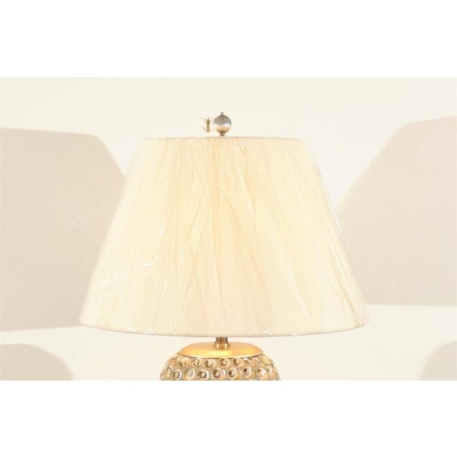 Pair of Modern Large-Scale Shell Lamps with Lucite and Silver Leaf Accents For Sale In Atlanta - Image 6 of 8