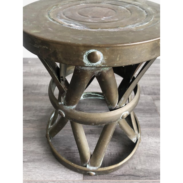 1960s 1960s Boho Chic Brass Drum Table For Sale - Image 5 of 7