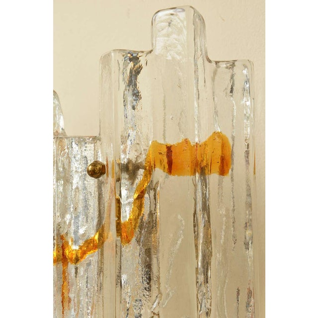 "Pair of Venini Murano Glass Mazzega Sculptural ""Staggered"" Pendant Sconces - Image 9 of 10"