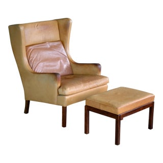Borge Mogensen Style Wingback Lounge Chair and Ottoman in Butterscotch Leather