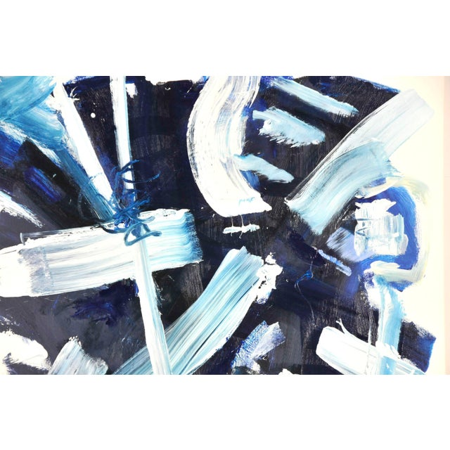 Abstract Abstract Navy and Blues Acrylic Painting by Robbie Kemper For Sale - Image 3 of 6