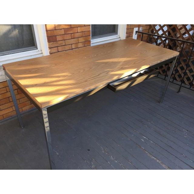 Steelcase Chrome and Oak Writing Desk - Image 5 of 11
