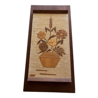 1969 Vintage Wooden Botanical Folk Art Wall Hanging For Sale