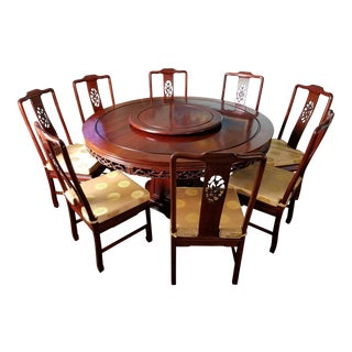 Asian Rosewood Dining Set For Sale
