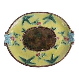 Antique English Majolica Floral Platter For Sale