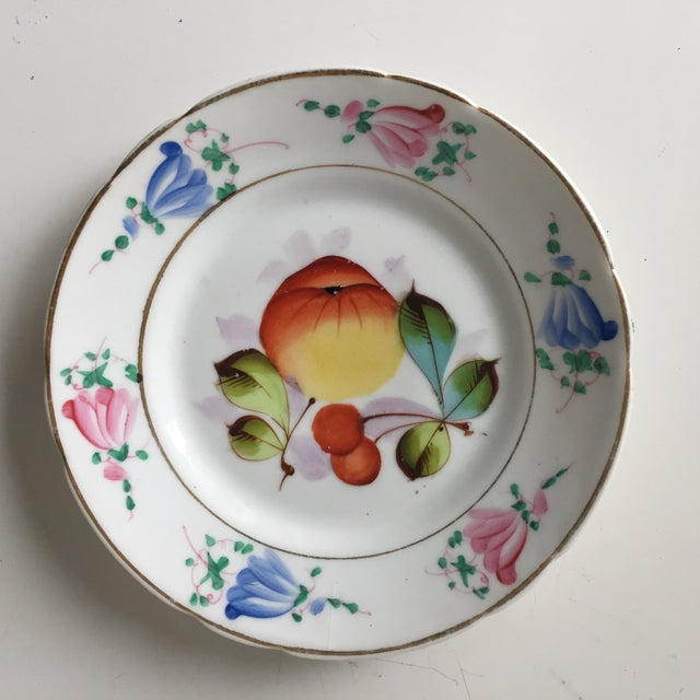 Aesthetic Movement 4 Antique French Porcelain Hand-Painted Fruit Plates For Sale - Image 3 of 10