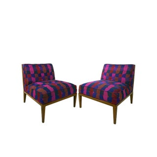 1960s Widdicomb Cane Back Slipper Chairs With Jack Larsen Upholstery- a Pair For Sale