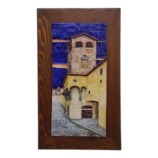 1980s Italian Frattagli DI Firenze Ceramic Wall Art Plaque For Sale