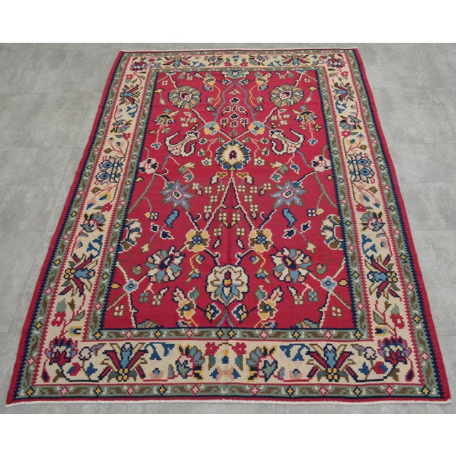 Traditional Vintage Hand Woven Wool Floral Kilim - 5′2″ × 7′6″ For Sale - Image 3 of 8
