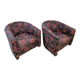 Image of Milo Baughman Styled Swivel Barrel Chairs, Vintage / a Pair For Sale