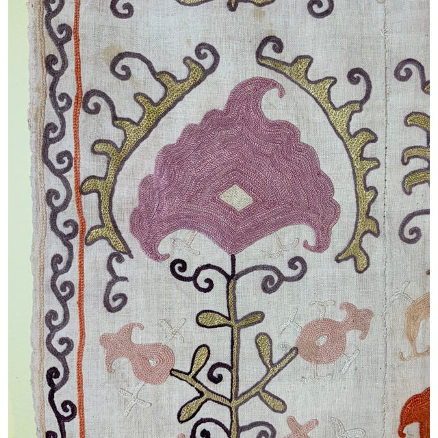 Antique Suzani Panel Wall Hanging For Sale - Image 10 of 13