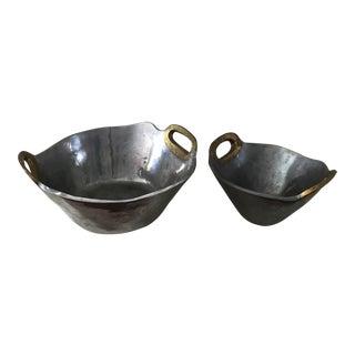 David Marshall Designs Brass Metal Bowls - A Pair