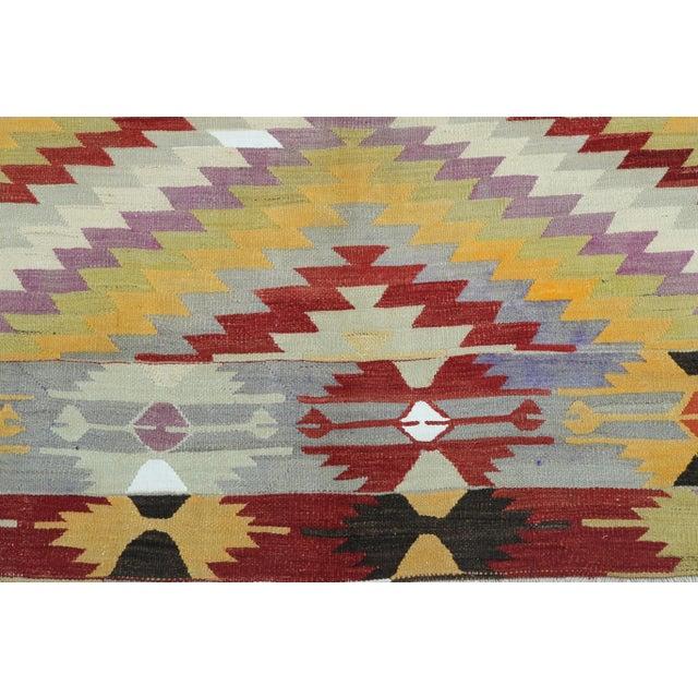 Amber Vintage Turkish Kilim Rug For Sale - Image 8 of 13