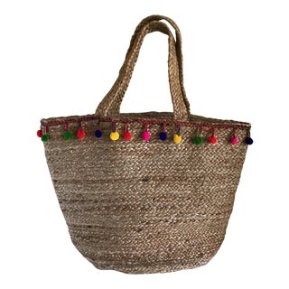 Boho Jute Large Basket Tote For Sale