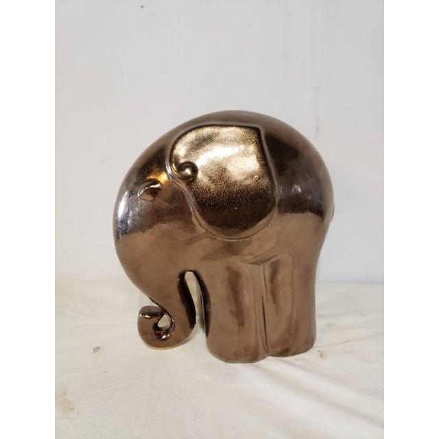 Arts & Crafts 1990s Ceramic Copper Glazed Elephant For Sale - Image 3 of 6