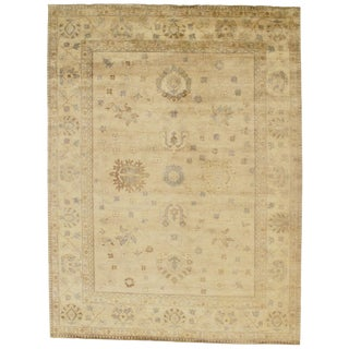 """Indian Oushak Hand-Knotted Rug - 8'9"""" X 10'6"""" For Sale"""