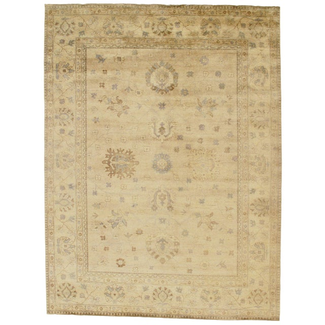 "Indian Oushak Hand-Knotted Rug - 8'9"" X 10'6"" For Sale"
