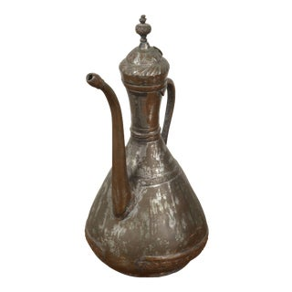 Middle Eastern Persian Tinned Copper Ewer For Sale