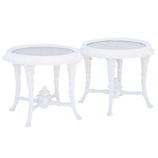 Pair of Foliate-Carved, Serge Roche Style, End Tables With Mirrored Tops