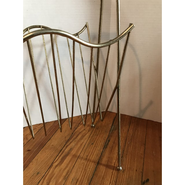 Mid-Century Brass Arch Magazine Rack For Sale - Image 4 of 6