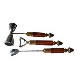 Mid-Century Cocktail Tool Set of 3, Jigger, Opener, Swizzel-Chrome, Brass, Resin For Sale