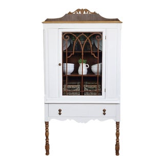 1930s Country Style White China Cabinet For Sale