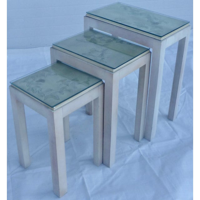 Contemporary Floral Tile Topped Nesting Tables - Set of 3 For Sale - Image 3 of 11
