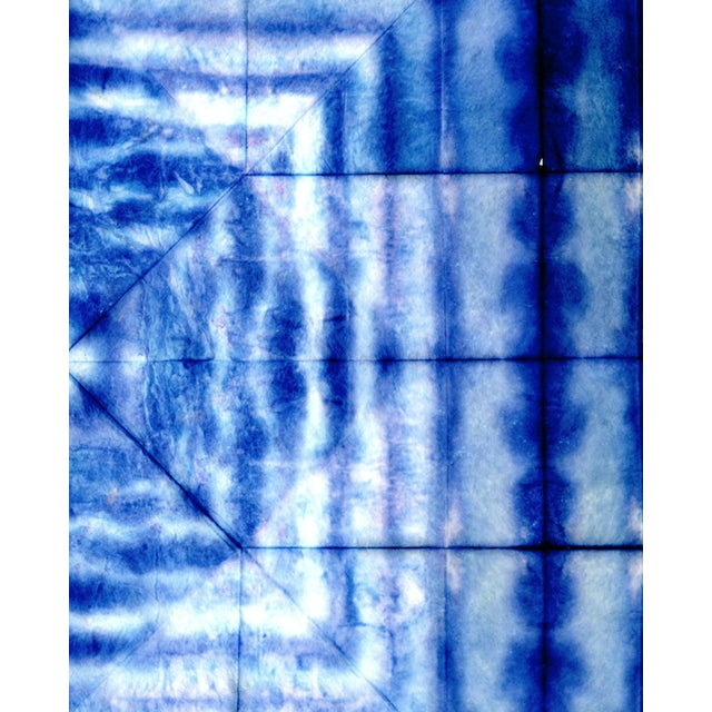 2010s Bright Blue Abstract Artwork - Unframed Print For Sale - Image 5 of 8