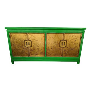 Thomasville - Mystique Collection, Green Lacquered Asian Credenza, W/ Carved Gold-Leaf Doors, 1960's For Sale