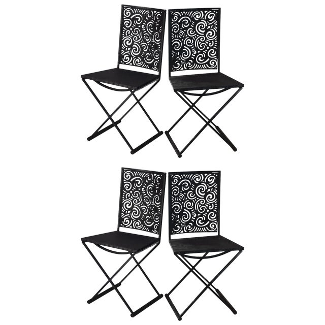 Artisan Torch Cut Iron/Steel Chairs - Set of 4 For Sale