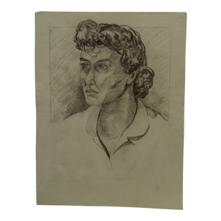 """Mid-Century Modern Original Drawing on Paper, """"Unfinished Professional Woman"""" by Tom Sturges Jr. For Sale"""