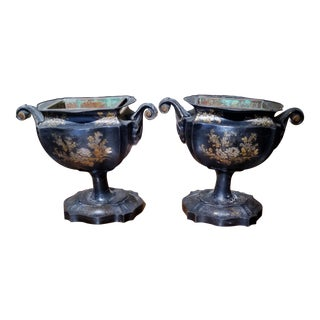 Pair of Tole Urns For Sale