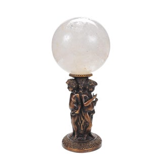 Crystal Ball on Bronze Figural Stand For Sale