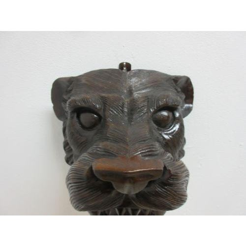 Hand Carved Mahogany Lion Tiger Head Wall Mount - Image 3 of 8